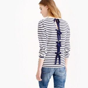 J Crew Bow Back Striped Top